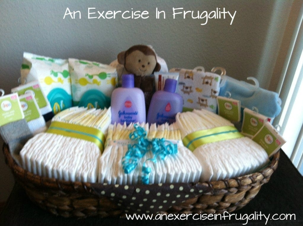 Baby shower basket gift idea an exercise in frugality diy budget baby shower gift basket negle