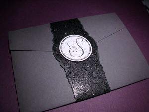 Gray and Purple Pocketfold Invitation