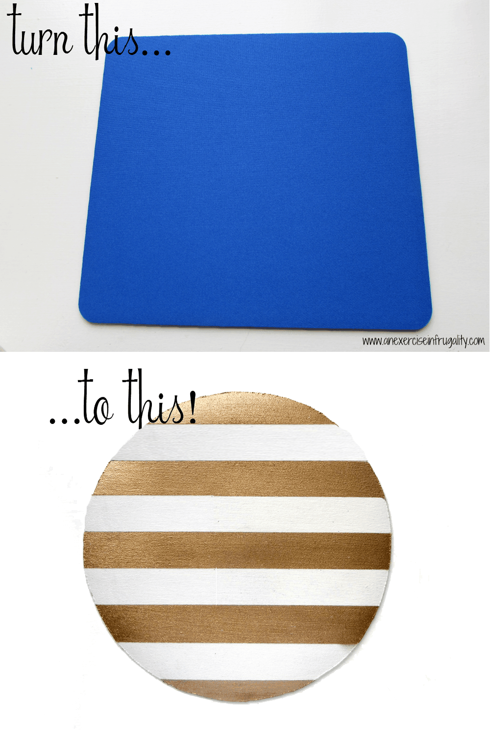 Gold Stripe Mousepad Before and After