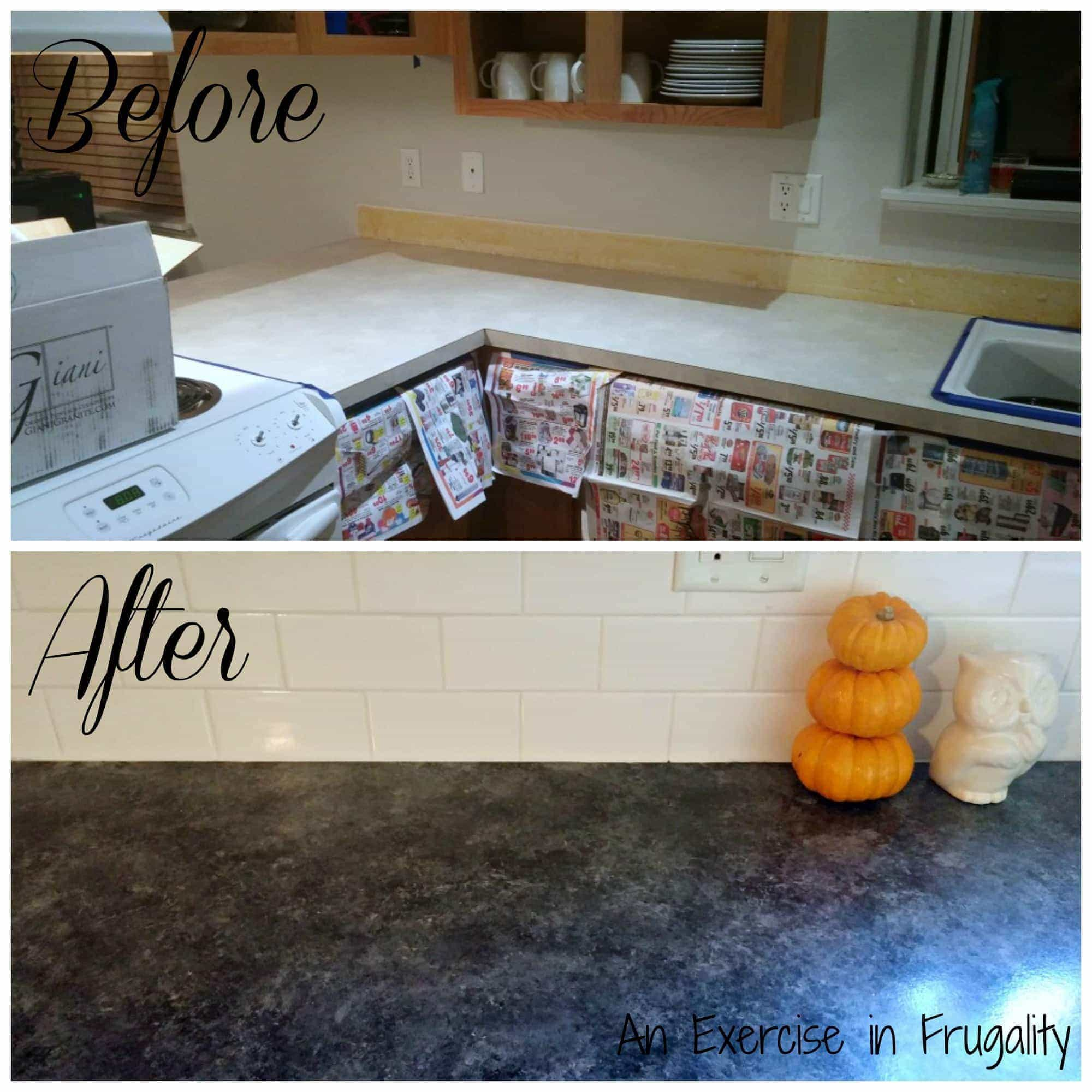 Giani countertop paint before and after an exercise in for Painting kitchen countertops before and after