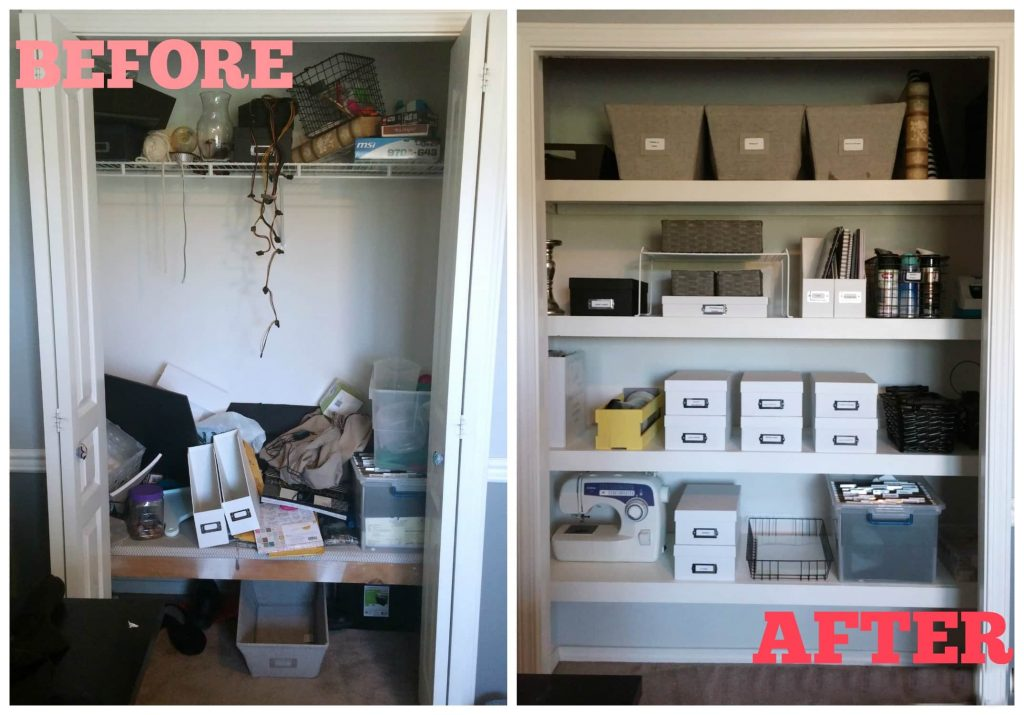 Craft Closet Floating Shelves Before and After 1024x715