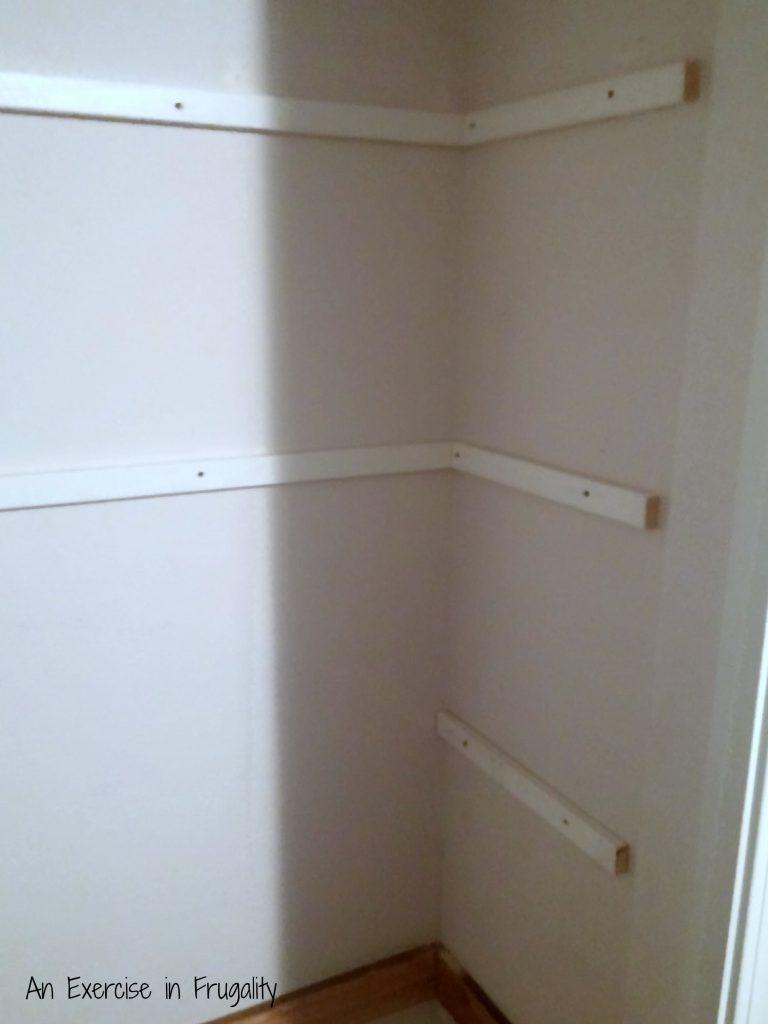 Floating shelves in progress
