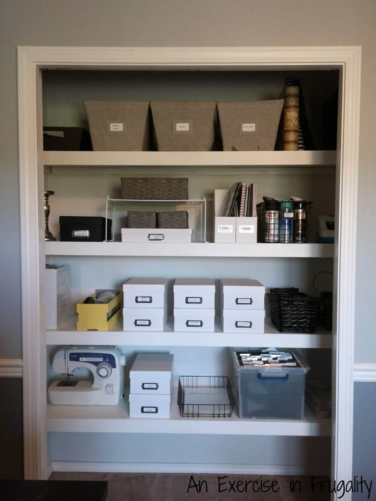 finished floating shelves craft closet