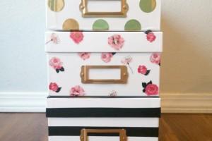 Kate Spade Inspired Storage Boxes Tutorial