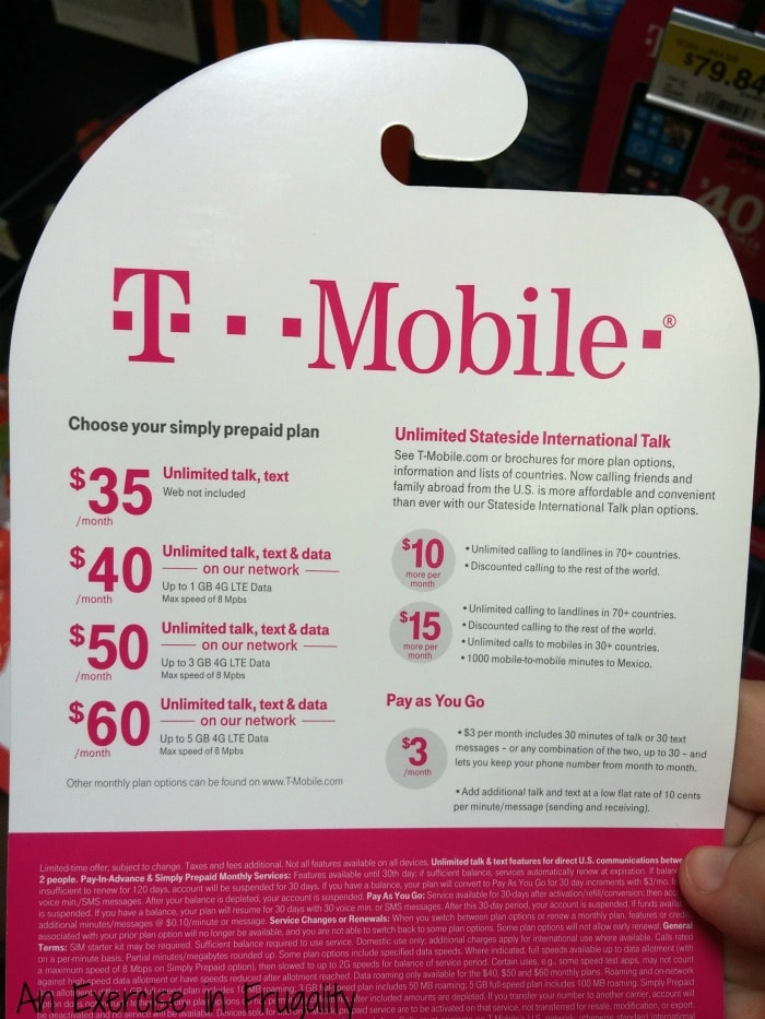 T-mobile simply prepaid plan list