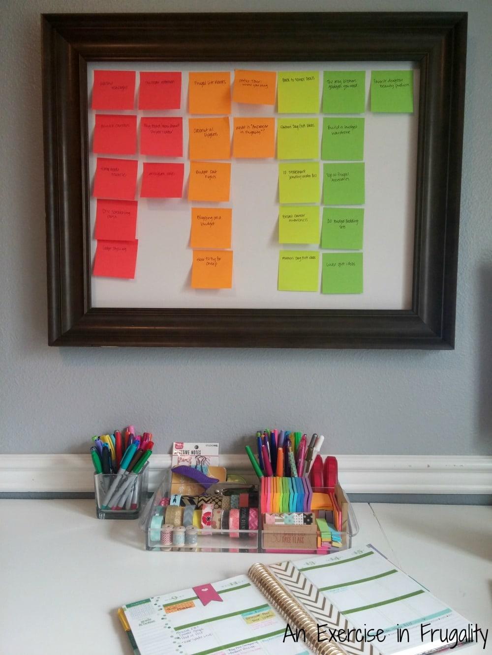 post it note blog planner board