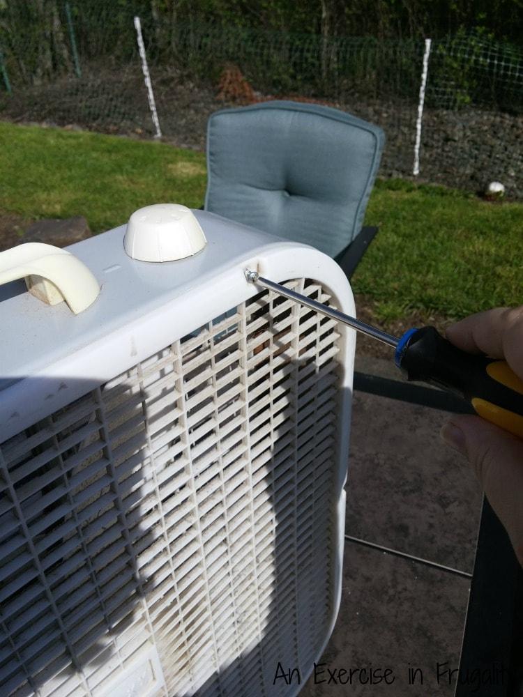 how to take apart a box fan