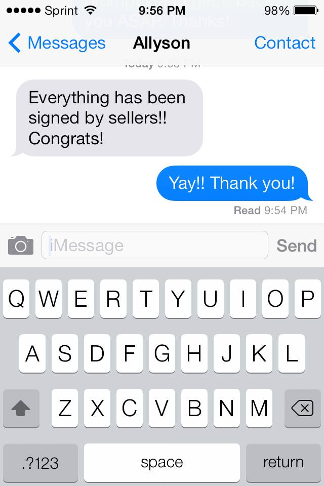 realtor congratulations text message house sold