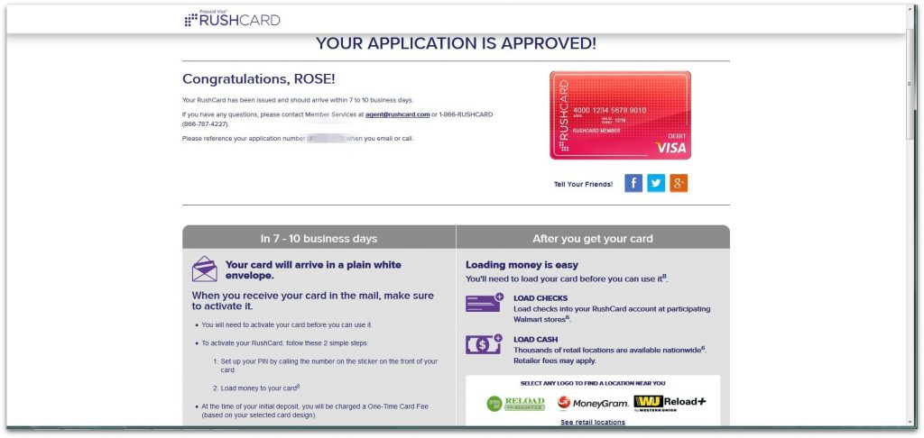 Visa RushCard Application