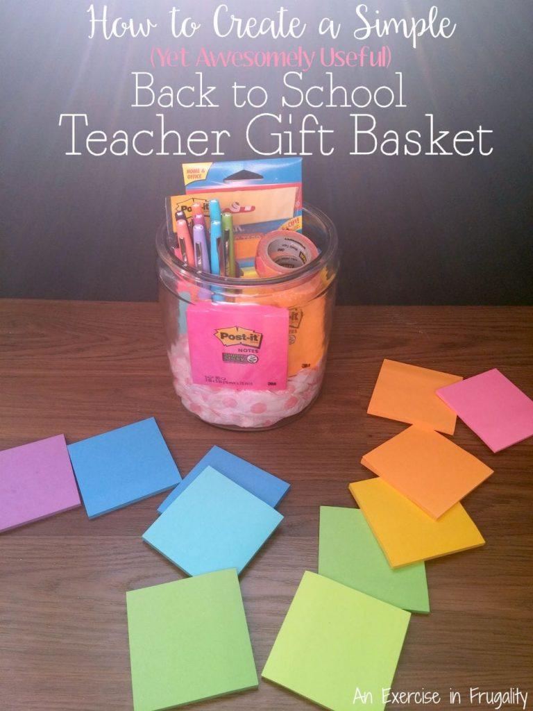 simple teacher gift basket post-it notes