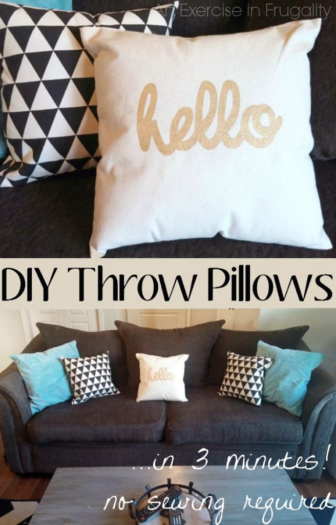 DIY No Sew Throw Pillows An Exercise in Frugality