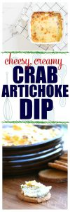 Cheesy, Creamy Artichoke Crab Dip is the best, easy appetizer for all your holiday gatherings. So easy, yet tastes like it's fancy! This has been a tradition in my family for years, we have it every Christmas and both kids and adults love it's bubbly, gooey goodness. You can serve it on crackers, rice crackers for a gluten free option, or veggie sticks for a low carb option. Such a simple recipe, but SO good. #glutenfree #lowcarb #recipes #recipeideas #Christmas #holidays #holidayrecipes