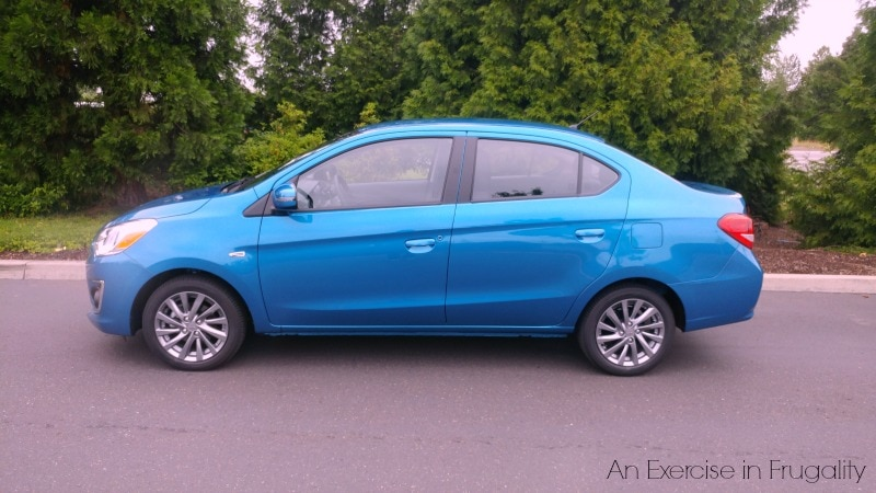 The 2017 Mitsubishi Mirage G4 is a cute little subcompact with awesome gas mileage. We think any frugal family is going to love this car! #DriveMitsubishi #DriveShop AD