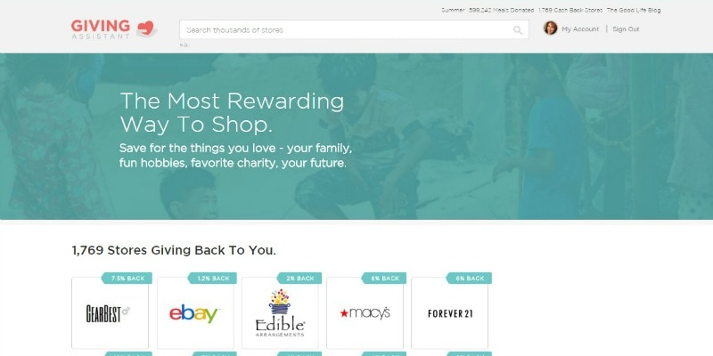 Giving Assistant gives you cash back for shopping at your favorite stores AND gives you the option to donate a portion of your cash back to charity!
