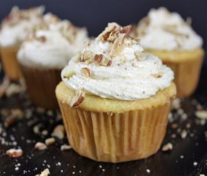 Pecan Cupcakes with Pumpkin Spice Frosting