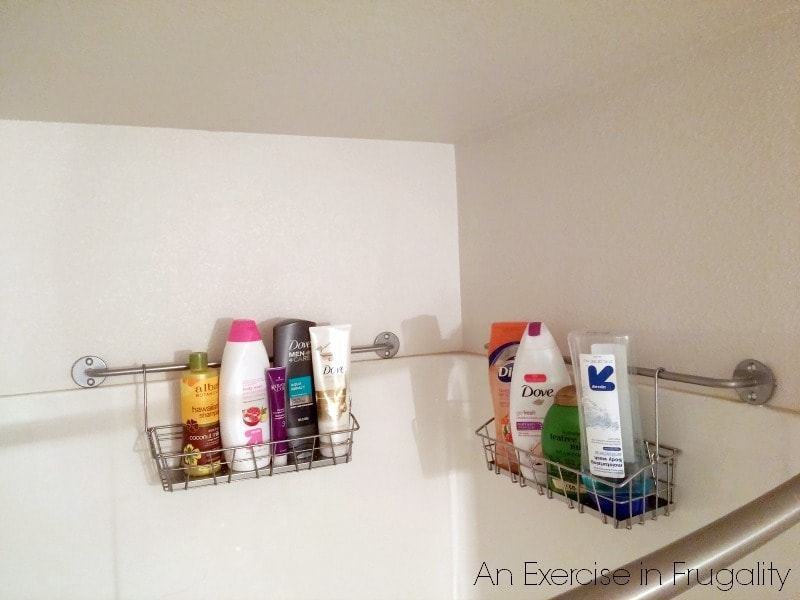 How to Organize Your Shower with a Spice Rack-How on earth does a spice rack help keep my shower organized? You might be surprised! This is cheap and easy and is the perfect organization solution for small bathrooms! Genius!