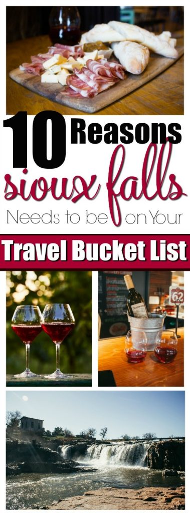 10 Reasons Sioux Falls Needs to Be On Your Travel Bucket List- Sioux Falls is the up and coming tourist destination of the Midwest! Foodies, romance seekers, shopping, culture and art galore! Enter for your chance to win a trip for four to Sioux Falls! #WeAreHereSF #HiFromSD #ad