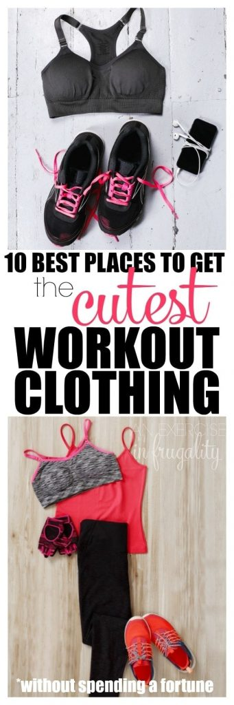 "Where do you find cheap workout clothing? The answer is ""lots of places!"" There's quite a lot of expensive workout wear out there, but with a little searching you can find some of the cutest workout clothes cheap! Just because you're going to the gym doesn't mean you have to look like a slob! #fitness #inspo #workout #activewear #clothes #fashion"