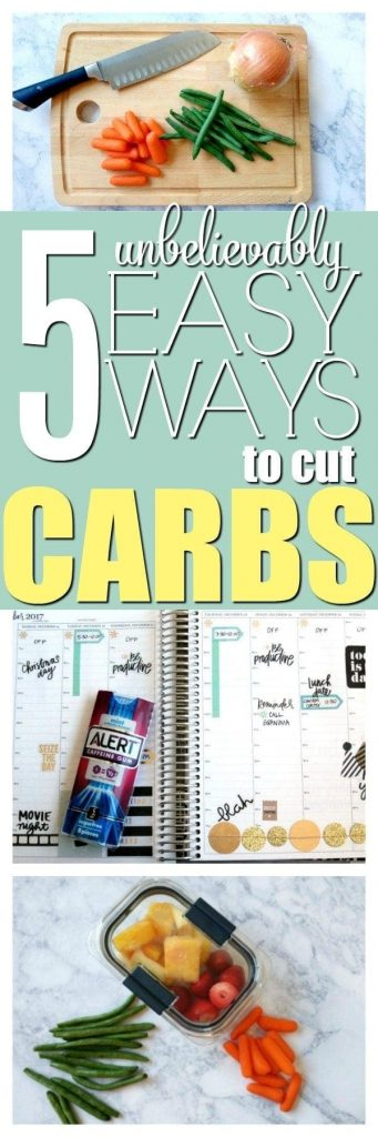 5 Unbelievably Easy Ways to Cut Carbs- Whether for your new year's resolution, health reasons or to lose weight, these 5 simple swaps will make going low carb relatively painless. Try these easy hacks and you won't miss those carbs one bit. #AD #AlertGum #LCHF #lowcarb #keto #diet #weightloss #diabetes #PCOS #carbs #Atkins