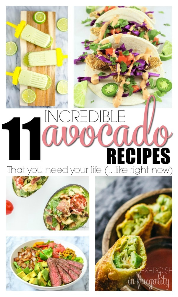 Avocado Recipes that you need in your life RIGHT NOW. Forget guacamole, do more than avocado toast! These avocado recipes are to die for. Everything from avocado chocolate pudding to egg rolls to avocado lime popsicles. Grab an avocado and take a look at these recipes for breakfast, lunch, dinner and more! You'll find a new favorite recipe here, I guarantee it!