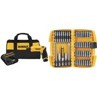 DEWALT DCF680N1 8V Gyroscopic Screwdriver 1-Battery Kit with DEWALT DW2166 45 Piece Screwdriving Set with Tough Case
