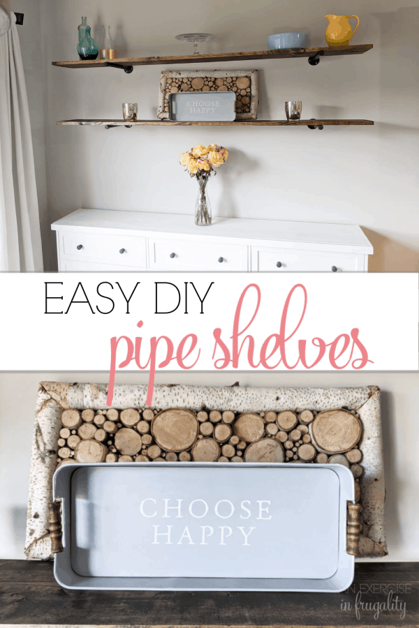 Easy DIY Pipe Shelves | An Exercise in Frugality These rustic shelves are SO simple to make and the perfect addition to your farmhouse or modern industrial design aesthetic. SO easy to make and very inexpensive. Perfect for your budget farmhouse decor!