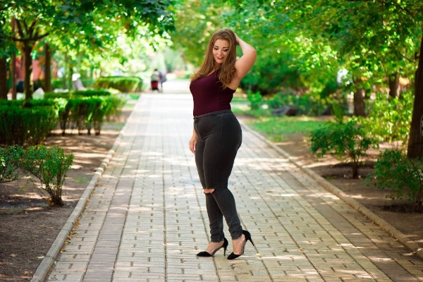Plus size fashion model in casual clothes