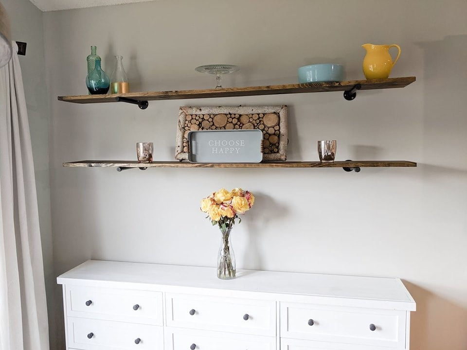 white farmhouse style sideboard cabinet with shelves