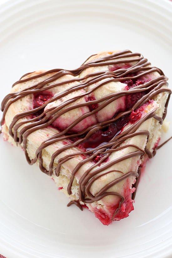 Heart Shaped Raspberry Rolls