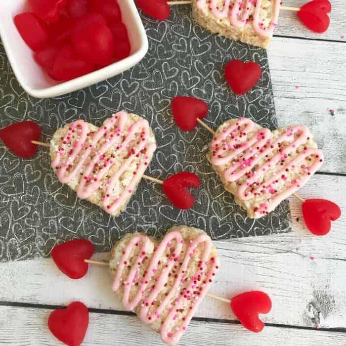 Valentine's Rice Krispie Treat Hearts
