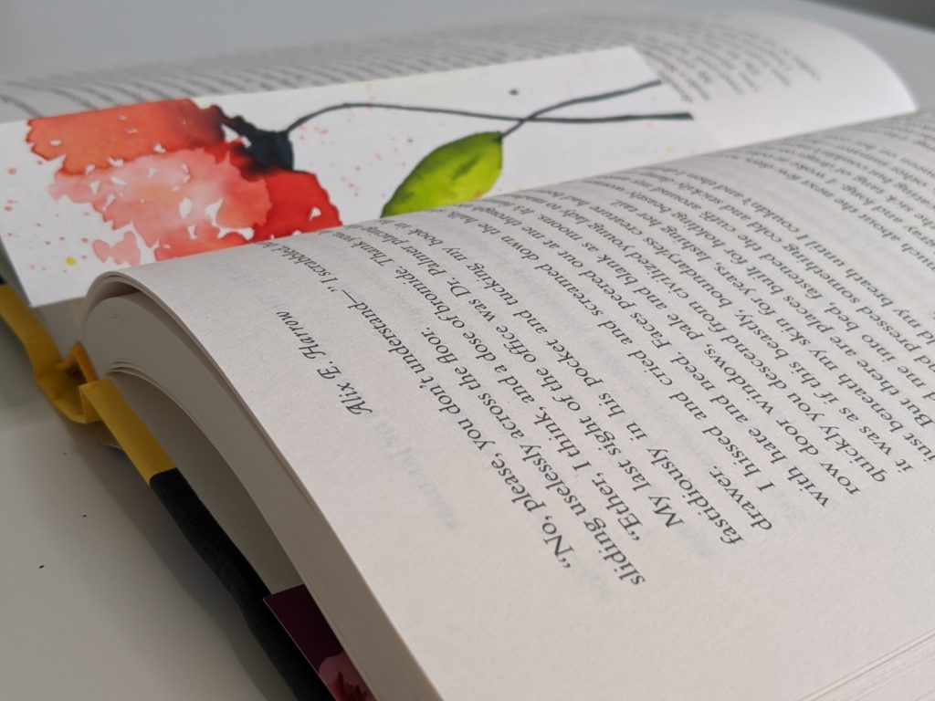 book open with bookmark