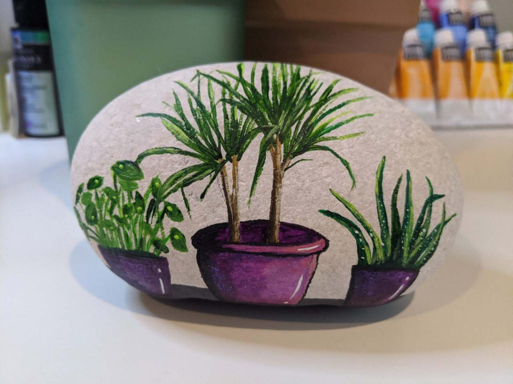 ivory painted rock with three house plants in purple pots