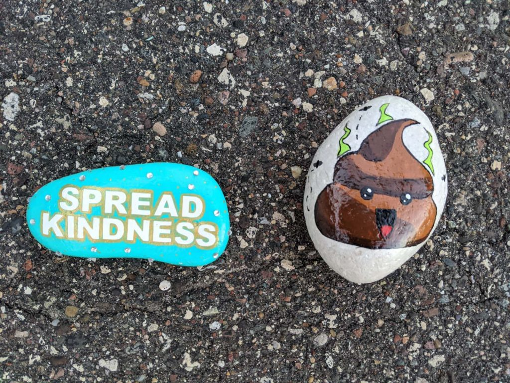 teal painted rock with the words spread kindness and painted rock with poop emoji